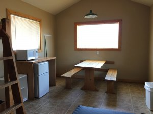 Moab Rim Campark Camping Cabins interior table kitchen area