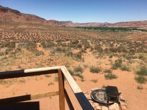 Moab Rim Campark Camping Cabins exterior view of desert