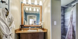 A bathroom sink and mirror
