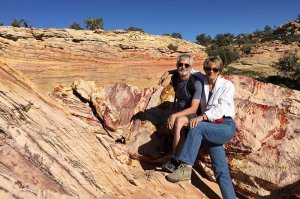 couple on rock formation