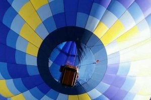 view of hot air balloon from below