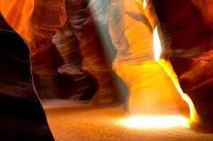 sunlight through antelope canyon