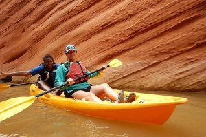 kayak in canyon