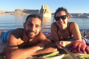 guests enjoying a beach day at lone rock beach lake powell