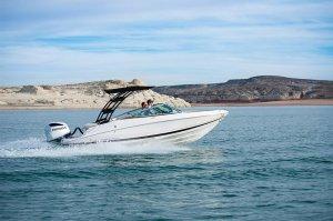 21ft Powerboat cruising through Wahweap Bay at top speeds