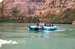 tourists on raft trip Colorado River