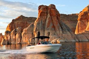 beutiful scenery and 19' Open-bow Ski Boat