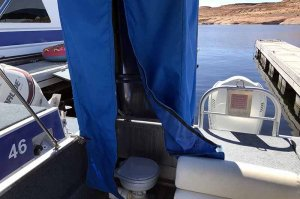 bathroom of 26' deck cruiser lake powell