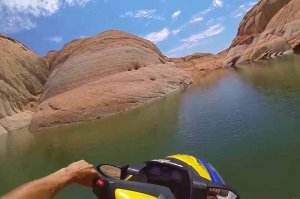 view from watercraft on lac powell