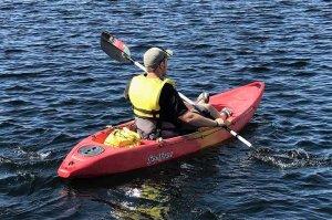 man in kayaking on Lake Powell