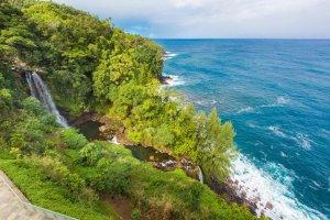 A waterfall on a steep coastline