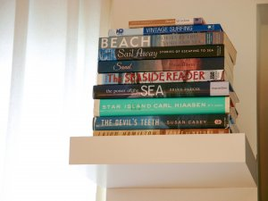 Hotel Seacrest Bamboo Room stacked books