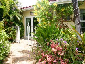Hotel Seacrest Matilda Room exterior door and flowers