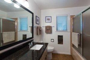 Bathroom mirror and counter