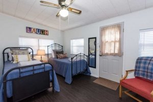 two twin beds in the third bedroom