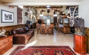the livingroom and hunting trophy decor
