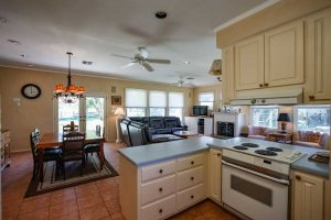 the kitchen counters and appliances