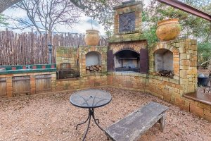 Outdoor Fireplace Sink Table and Chairs