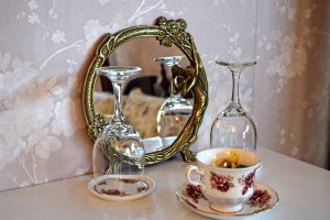 tea cup and wine glasses