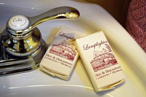 hotel soap on pedestal sink