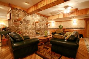 Sitting Area with Leather Couches