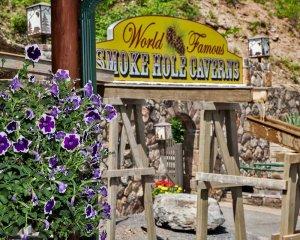 World Famous Smoke Hole Caverns sign
