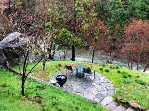 Stone patio in yard