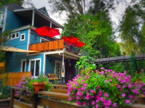 Gold Creek Inn exterior porch flowers