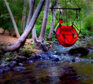 Gold Creek Inn swing over river