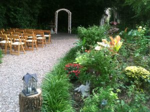 outdoor chairs altar flowers