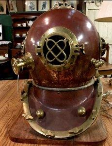 antique metal diving helmet