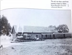 Los Alamos train station. This early view shows a mixed train preparing to depart Los Alamos. Richard Monighetti. Collection of Kenneth E. Wescot.