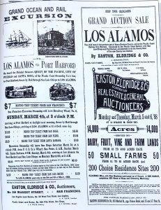Los Alamos historic advertisements: Grand Ocean and Rail Excursion, Los Alamos via Port Hartford, Grand Auction Sale