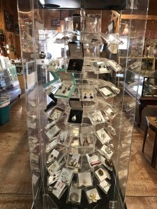 antique jewelry in display cases