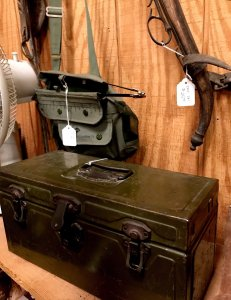 antique military tools and trunk