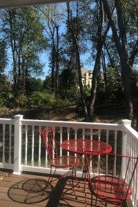 red metal porch set