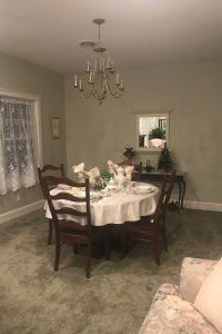 table with chandelier