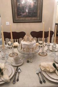 set table with christmas cake