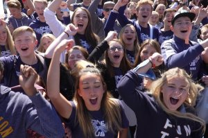 Student crowd cheering