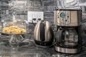 kitchen appliances on granite countertops