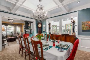 fancy dining room with chandelier