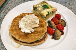 pancakes and breakfast quiche