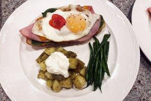 diced potatoes, egg and asparagus