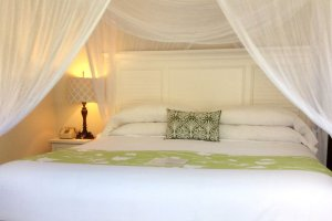 canopied bed with green highlights