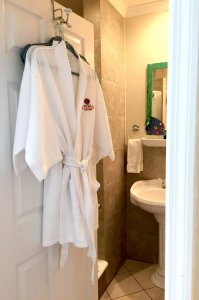 robe on door leading into bathroom