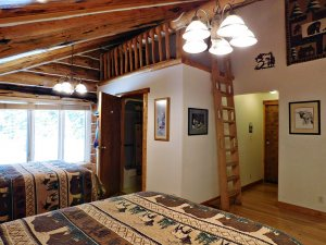 loft with log ladder