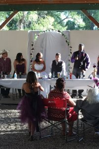 Wedding ceremony at a table