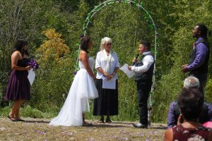 Wedding ceremony under an archway