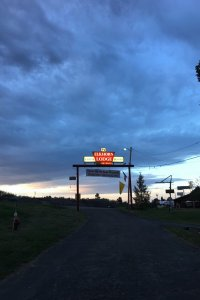 Elkhorn Lodge Sign at Dusk