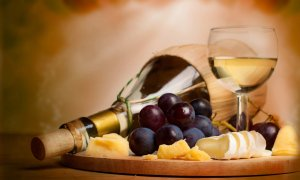 Grapes, cheese, and wine